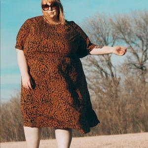 Abstract animal print midi dress